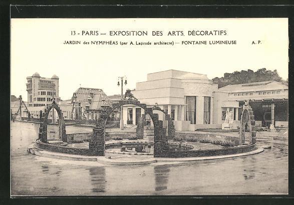 Ak paris exposition des arts decoratifs 1925 jardin des nympheas laprade arch fontaine lumineuse