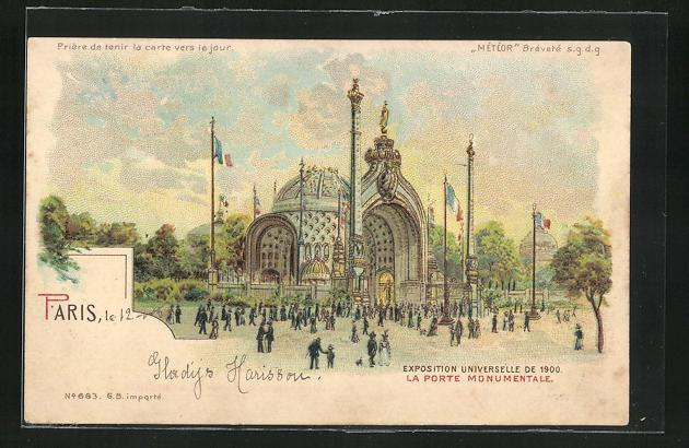 Ak paris exposition universelle de 1900 la porte monumentale halt gegen das licht