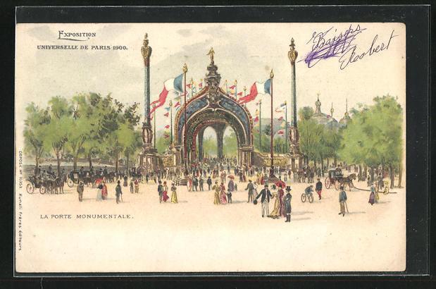 Ak paris exposition universelle de 1900 la porte monumentale