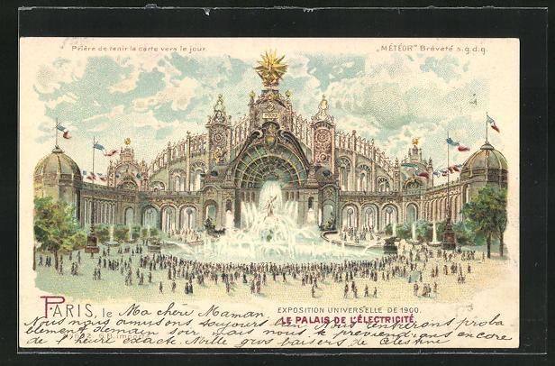 Ak paris exposition universelle de 1900 le palais de l electricite halt gegen das licht