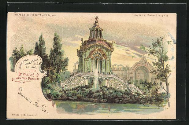 Ak paris exposition universelle de 1900 le palais luminexu ponsin halt gegen das licht
