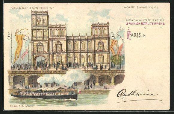 Ak paris exposition universelle de 1900 le pavillon royal d espagne halt gegen das licht