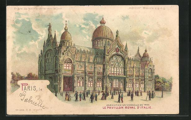 Ak paris exposition universelle de 1900 le pavillon royal d italie halt gegen das licht