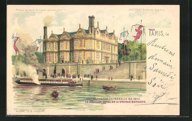 Ak paris exposition universelle de 1900 le pavillon royal de la grande bretagne halt gegen das licht
