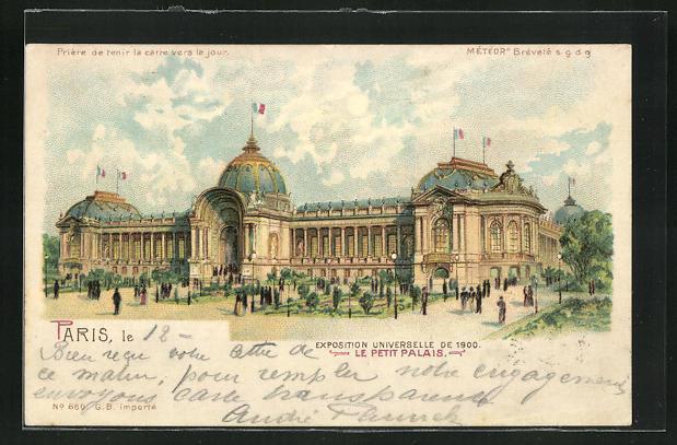Ak paris exposition universelle de 1900 le petit palais halt gegen das licht