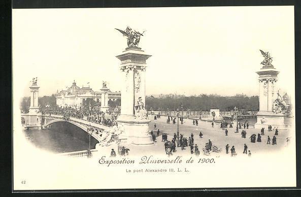 Ak paris exposition universelle de 1900 le pont alexandre iii