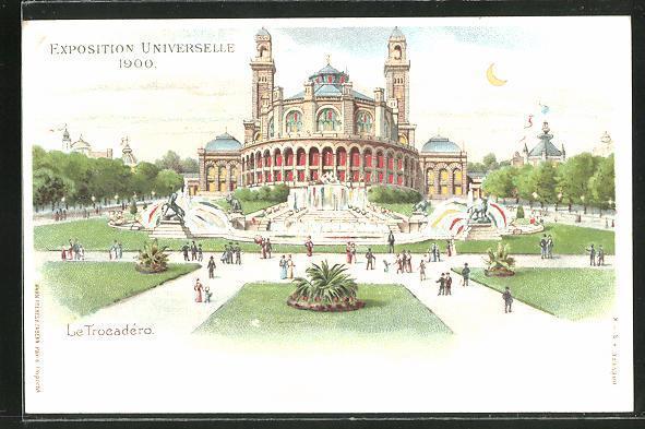 Ak paris exposition universelle de 1900 le trocadero halt gegen das licht