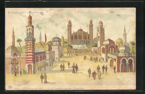 Ak paris exposition universelle de 1900 le trocadero pendant l exposition halt gegen das licht