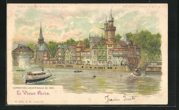 Ak paris exposition universelle de 1900 le vieux paris halt gegen das licht