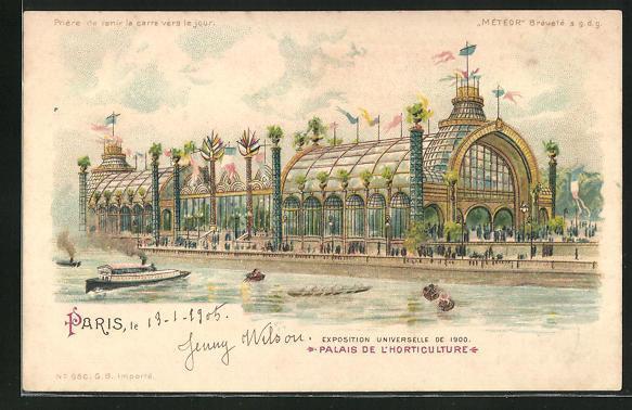 Ak paris exposition universelle de 1900 palais dede l horticulture halt gegen das licht