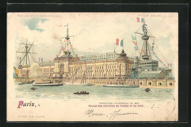 Ak paris exposition universelle de 1900 palais des armees de terre et de mer halt gegen das licht