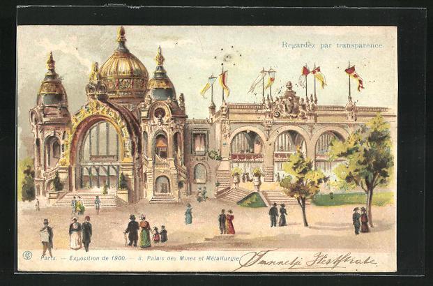 Ak paris exposition universelle de 1900 palais des mines et metallurgie halt gegen das licht