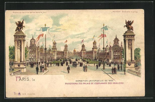 Ak paris exposition universelle de 1900 panorama des palais de l esplanade des invalides halt gegen das licht