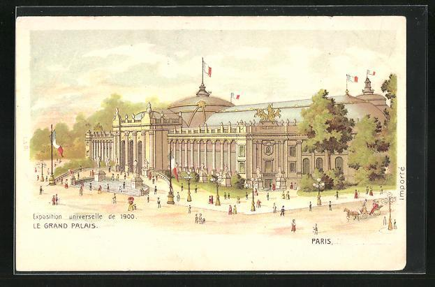 Lithographie paris exposition universelle de 1900 le grand palais