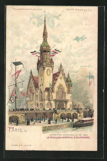 Lithographie paris exposition universelle de 1900 le pavillon imperial d allemagne halt gegen das licht