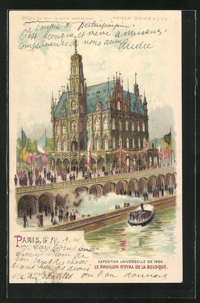 Lithographie paris exposition universelle de 1900 le pavillon royal de la belgique halt gegen das licht