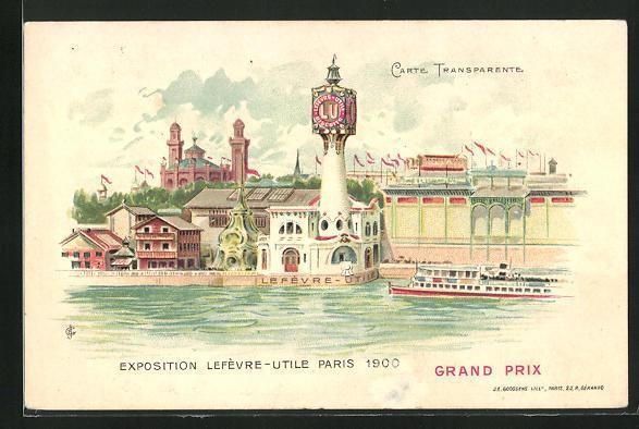 Lithographie paris exposition universelle de 1900 lefevre utile halt gegen das licht