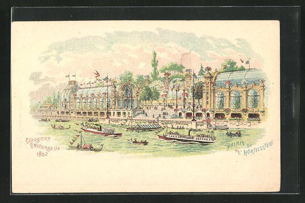 Lithographie paris exposition universelle de 1900 palais de l horticulture