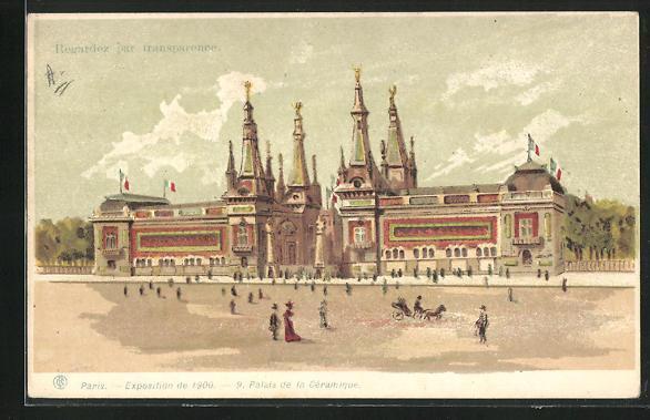 Lithographie paris exposition universelle de 1900 palais de la ceramique halt gegen das licht