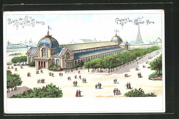 Lithographie paris exposition universelle de 1900 palais de la ville de paris