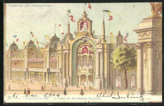 Lithographie paris exposition universelle de 1900 palais des manufactures nationales halt gegen das licht