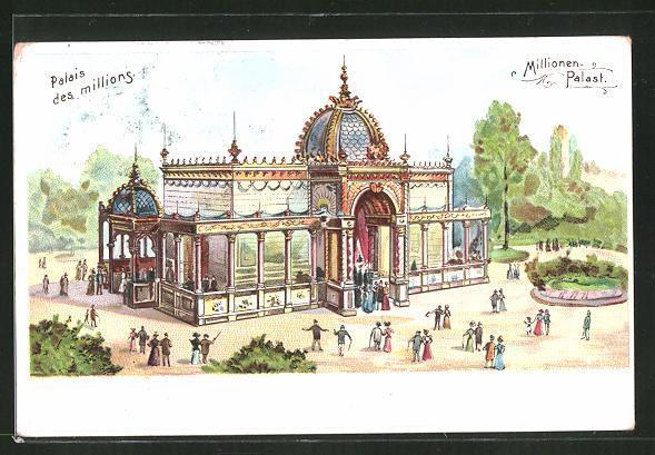 Lithographie paris exposition universelle de 1900 palais des millions millionen palast