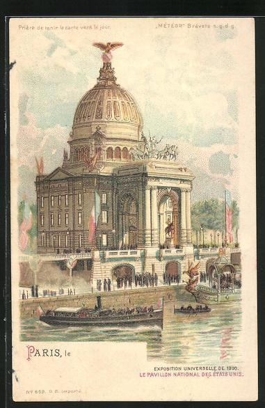 Lithographie paris exposition universelle de 1900 pavillon national des etats unis halt gegen das licht