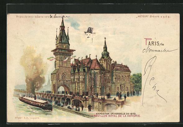 Lithographie paris exposition universelle de 1900 pavillon royal de la hongrie halt gegen das licht