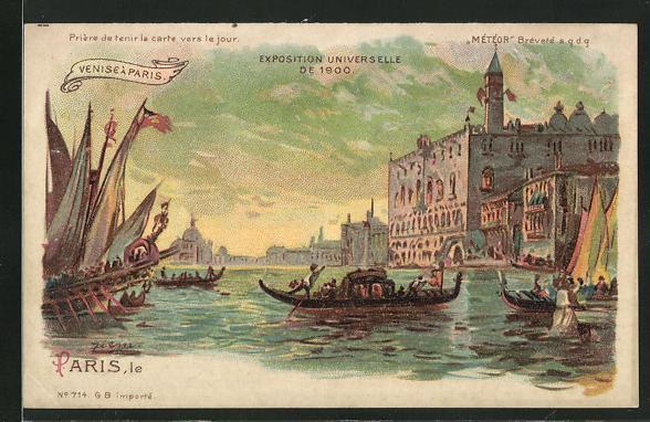 Lithographie paris exposition universelle de 1900 venise a paris halt gegen das licht
